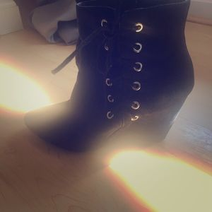 Tie up black suede ankle boot